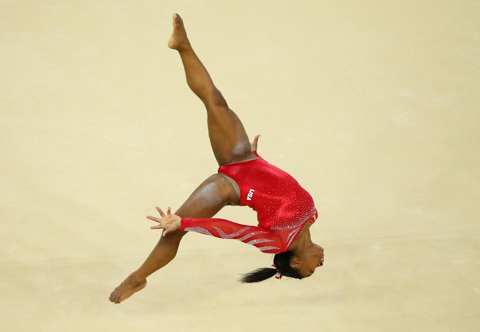 <p>Biles has 14 total world championship medals… and 10 of them are gold. Her idol is Dominique Moceanu. (Getty) </p>