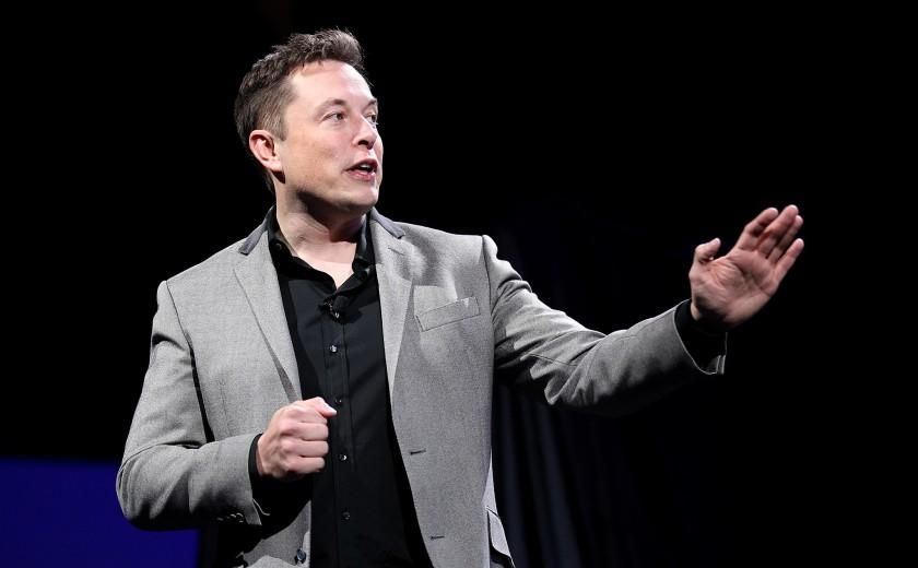 "Tesla chief executive Elon Musk, shown in April, visited Stephen Colbert on CBS' ""Late Show"" on Wednesday."