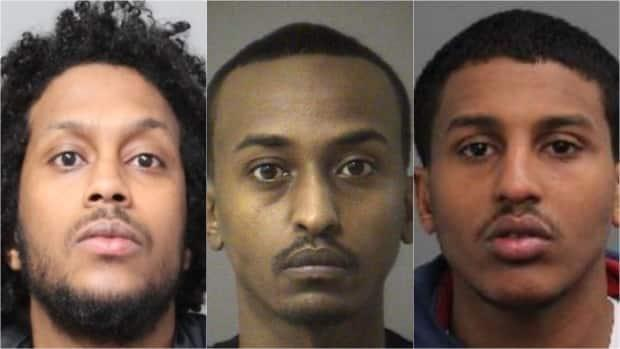 From left to right: Ahmed Siyad, 28, of Toronto; Mohamed Shire, 31, of Toronto; and Abdullahi Osman, 29, of Ottawa. Ottawa Police Service issued Canada-wide warrants for the three suspects in relation to a double homicide on Alta Vista Drive on May 28, 2021. (Ottawa Police Service - image credit)