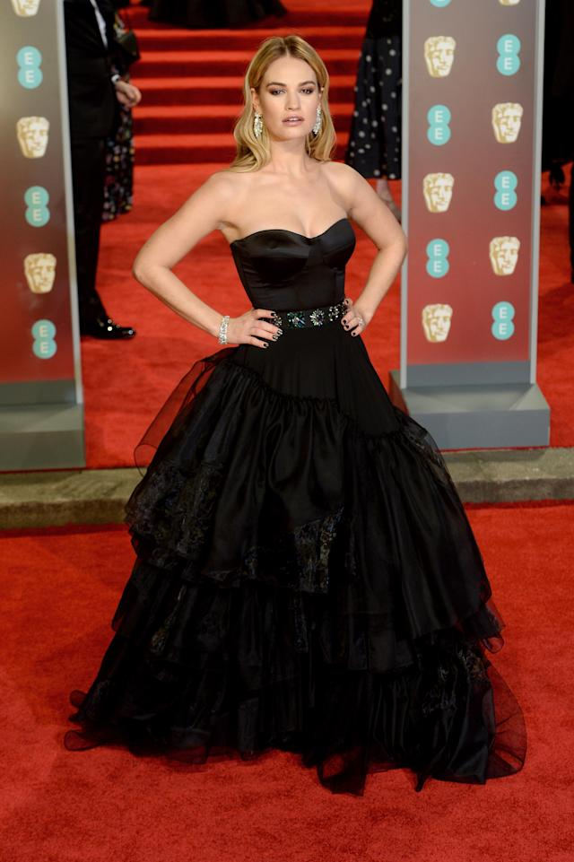 "<p>The ""Cinderella"" actress worked a modern-day Burberry ball gown. <em>[Photo: Getty]</em> </p>"
