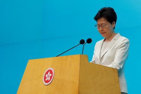 Hong Kong Chief Executive Carrie Lam attends a news conference in Hong Kong