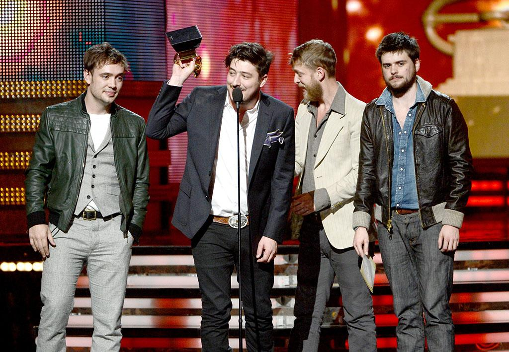Ben Lovett, Marcus Mumford, Ted Dwane and Winston Marshall of Mumford & Sons accept Album of the Year award for 'Babel' at the 55th Annual Grammy Awards at the Staples Center in Los Angeles, CA on February 10, 2013.