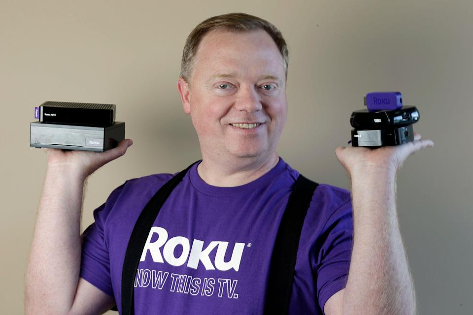 In this May 19, 2014 photo, Anthony Wood, CEO of Roku, poses for a portrait at the company's headquarters in Saratoga, Calif. While Netflix CEO Reed Hastings gets marquee billing for building an Internet video service with 48 million worldwide subscribers, Wood has quietly worked behind the scenes making Roku streaming devices that make it easier and more enjoyable to watch Netflix's vast library of movies and TV shows. (AP Photo/Marcio Jose Sanchez)