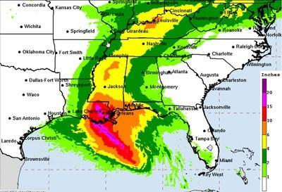 Hurricane Ida is expected to dump up to 20 inches of rain on parts of the Mississippi Gulf Coast with storm surge up to 11 feet after it makes landfall late Sunday evening or early Monday morning.  The tropical cyclone's impact will be felt far inland with parts of central and north Mississippi expected to receive from four to six inches of rain as the system weakens into a tropical storm and depression on Monday and Tuesday. - chart courtesy of National Weather Service