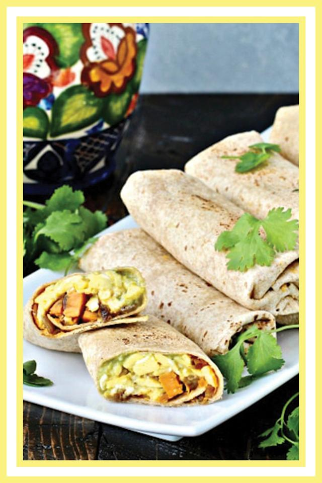 "<p>These breakfast burritos from <a href=""https://thefoodiephysician.com/6612-2/"" target=""_blank"">The Foodie Physician</a> are stuffed with a spicy-sweet potato hash, scrambled eggs, avocado, and cheddar cheese, making them a hearty (and convenient) breakfast. Prep a batch over the weekend and store the rest in your freezer.<br></p><p><a class=""body-btn-link"" href=""https://thefoodiephysician.com/6612-2/"" target=""_blank"">GET THE RECIPE</a></p><p><em>Per serving: 353 cals, 16 g protein, 32 g carbs, 17 g fat (5 g sat), 6 g fiber, 621 mg sodium.</em><br></p>"