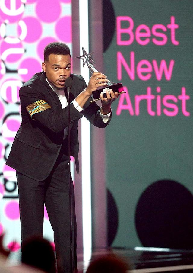 <p>At Sunday's BET Awards, Chance was introduced by –- surprise! –- a video message from Michelle Obama, as he was honored with the Humanitarian Award for his work in education. He also nabbed the title of Best New Artist. (Photo: Frederick M. Brown/Getty Images) </p>