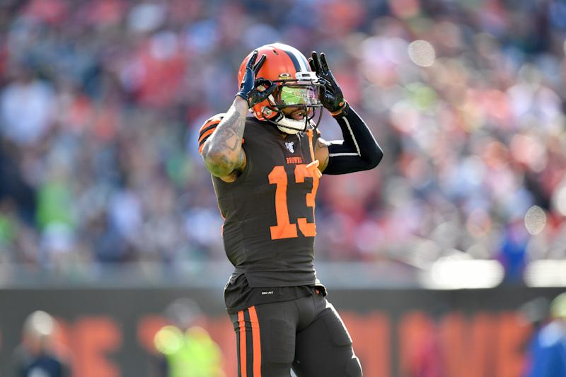 CLEVELAND, OHIO - OCTOBER 13: Odell Beckham #13 of the Cleveland Browns celebrates during the second quarter against the Seattle Seahawks at FirstEnergy Stadium on October 13, 2019 in Cleveland, Ohio. (Photo by Jason Miller/Getty Images)