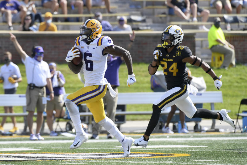 LSU wide receiver Terrace Marshall Jr. (6) scored three touchdowns against Missouri. (AP Photo/L.G. Patterson)