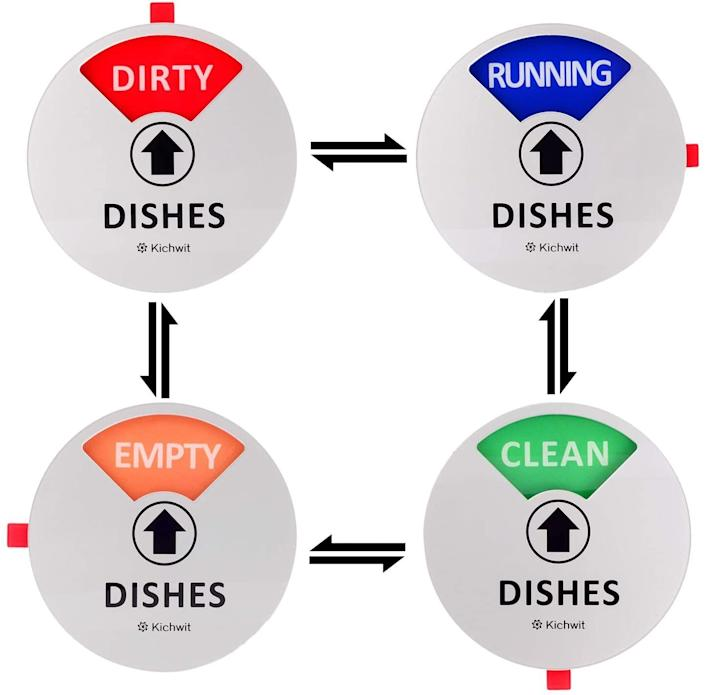 "If you're on dishwasher duty, you'll immediately know if your plates, cups and utensils are clean or dirty. <br /><br /><strong>Promising review:</strong> ""I love this!!! I had a bad problem with my family stacking dirty dishes up in the sink when the dishwasher was empty...or not emptying it when it was clean. Well since buying this we all have been keeping up on the dishes so much better!!!"" — <a href=""https://amzn.to/3uUEOhW"" target=""_blank"" rel=""nofollow noopener noreferrer"" data-skimlinks-tracking=""5312233"" data-vars-affiliate=""Amazon"" data-vars-href=""https://www.amazon.com/gp/customer-reviews/R1R9WT4WAUVNIM?tag=bfheather-20&ascsubtag=5312233%2C23%2C33%2Cmobile_web%2C0%2C0%2C33432"" data-vars-keywords=""cleaning"" data-vars-link-id=""33432"" data-vars-price="""" data-vars-product-id=""15947286"" data-vars-retailers=""Amazon"">Megan Vead</a><br /><br /><strong>Get a 4-pack Amazon for <a href=""https://amzn.to/2OUwPC4"" target=""_blank"" rel=""nofollow noopener noreferrer"" data-skimlinks-tracking=""5312233"" data-vars-affiliate=""Amazon"" data-vars-asin=""B07Q37GKF5"" data-vars-href=""https://www.amazon.com/dp/B07Q37GKF5?tag=bfheather-20&ascsubtag=5312233%2C23%2C33%2Cmobile_web%2C0%2C0%2C33431"" data-vars-keywords=""cleaning"" data-vars-link-id=""33431"" data-vars-price="""" data-vars-product-id=""18257463"" data-vars-product-img=""https://m.media-amazon.com/images/I/4154BBk-EUL.jpg"" data-vars-product-title=""Kichwit Dishwasher Magnet Clean Dirty Sign Indicator with Running and Empty Options, Works on All Dishwashers, Non-Scratch Strong Magnetic Backing, Residue Free Adhesive Included, 4 Inch, Silver"" data-vars-retailers=""Amazon"">$7.99</a> (available in three styles).</strong>"