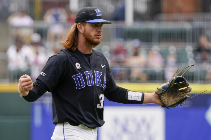 Duke pitcher Cooper Stinson celebrates the end of the second inning against North Carolina State in an NCAA college baseball game at the Atlantic Coast Conference championship game on Sunday, May 30, 2021, in Charlotte, N.C. (AP Photo/Chris Carlson)