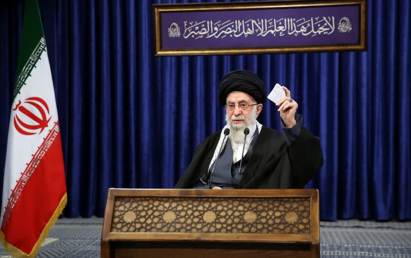 Iran's Supreme Leader Ayatollah Ali Khamenei delivers a televised speech, in Tehran