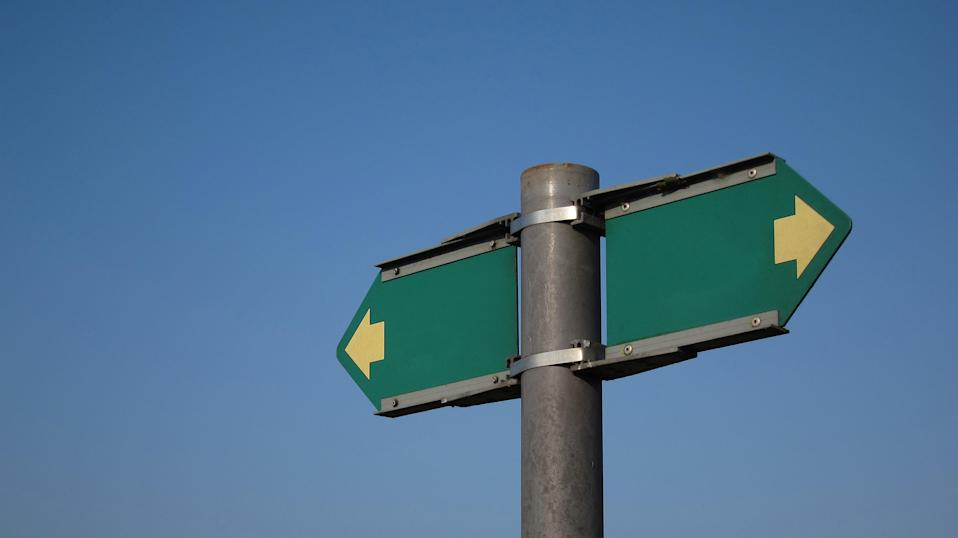 Blank green arrow signs pointing in both directions on top of a metal post.