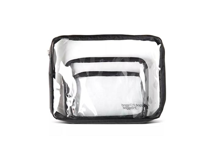 baggalini clear makeup pouch set