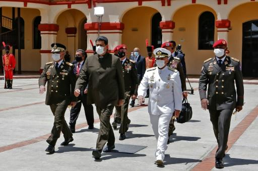 Venezuela's President Nicolas Maduro arriving at a military ceremony in Caracas