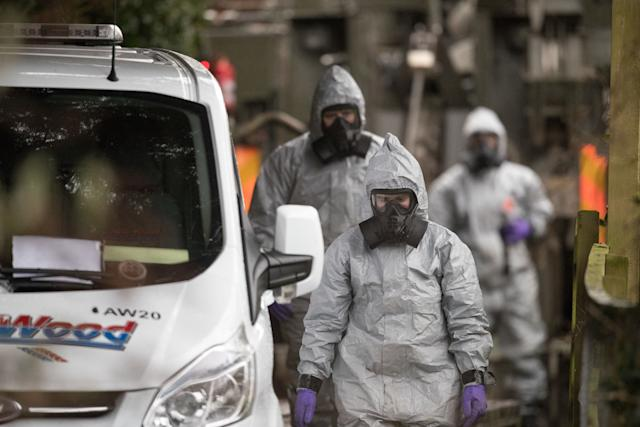 Investigators in protective clothing remove a van from an address in Winterslow near Salisbury, as police and members of the armed forces continue to investigate the nerve agent attack on Russian double agent Sergei Skripa on March 12, 2018 in Wiltshire, England.