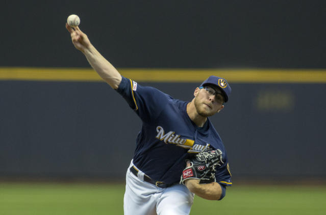 Milwaukee Brewers pitcher Corbin Burnes pitches to the St. Louis Cardinals during the first inning of a baseball game Wednesday, April 17, 2019, in Milwaukee. (AP Photo/Darren Hauck)