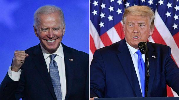 PHOTO: Democratic presidential nominee Joe Biden speaks to supporters in Wilmington, Del. on the evening of Nov. 3 and President Donald Trump gives a statement in the White House in Washington, early on Nov. 4, 2020. (AFP via Getty Images)