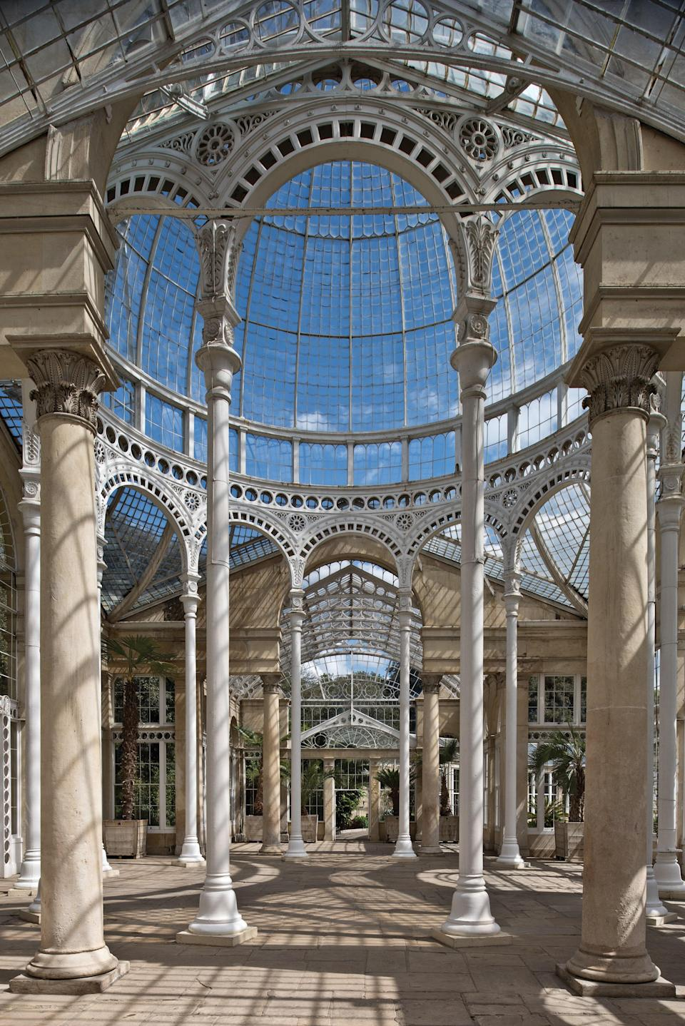 The interior of Syon Park Conservatory demonstrates impressive engineering prowess, particularly in the main dome.