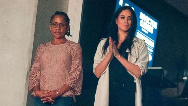PHOTO: Meghan Markle and her mother Doria Ragland watch the closing ceremonies for the Invictus Games in Toronto, Canada, Sept. 30, 2017. (Geoff Robins/AFP/Getty Images)
