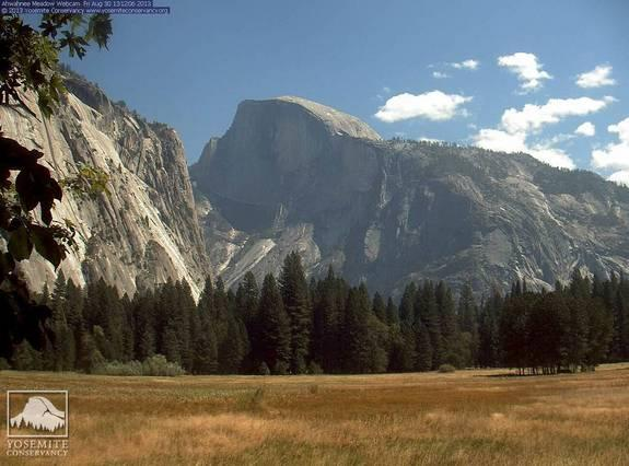 The view from Yosemite Valley toward Half Dome Friday afternoon (Aug. 30).