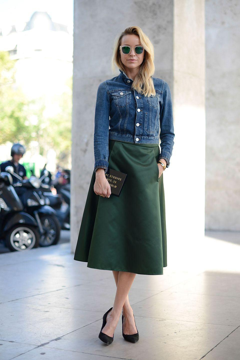 <p>A denim jacket buttoned all the way to the top is a perfect pairing with a skirt or trousers. Pop the collar to give it a little attitude. </p>