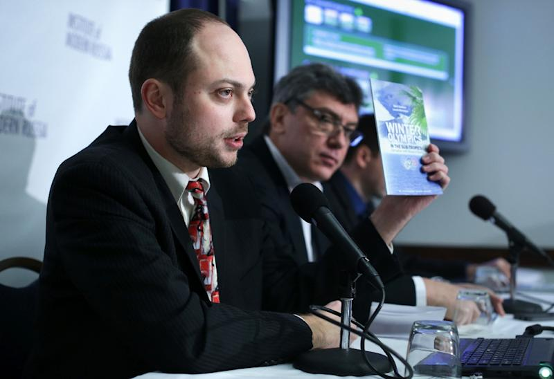 Kremlin critic Vladimir Kara-Murza (left) was an ally of the late opposition leader Boris Nemtsov, and joined him in 2014 to condemn corruption at the Sochi Olympics