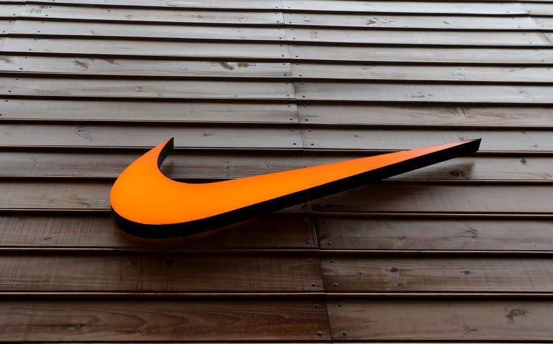 FILE PHOTO: The logo of Nike is seen in a storefront in Sao Paulo