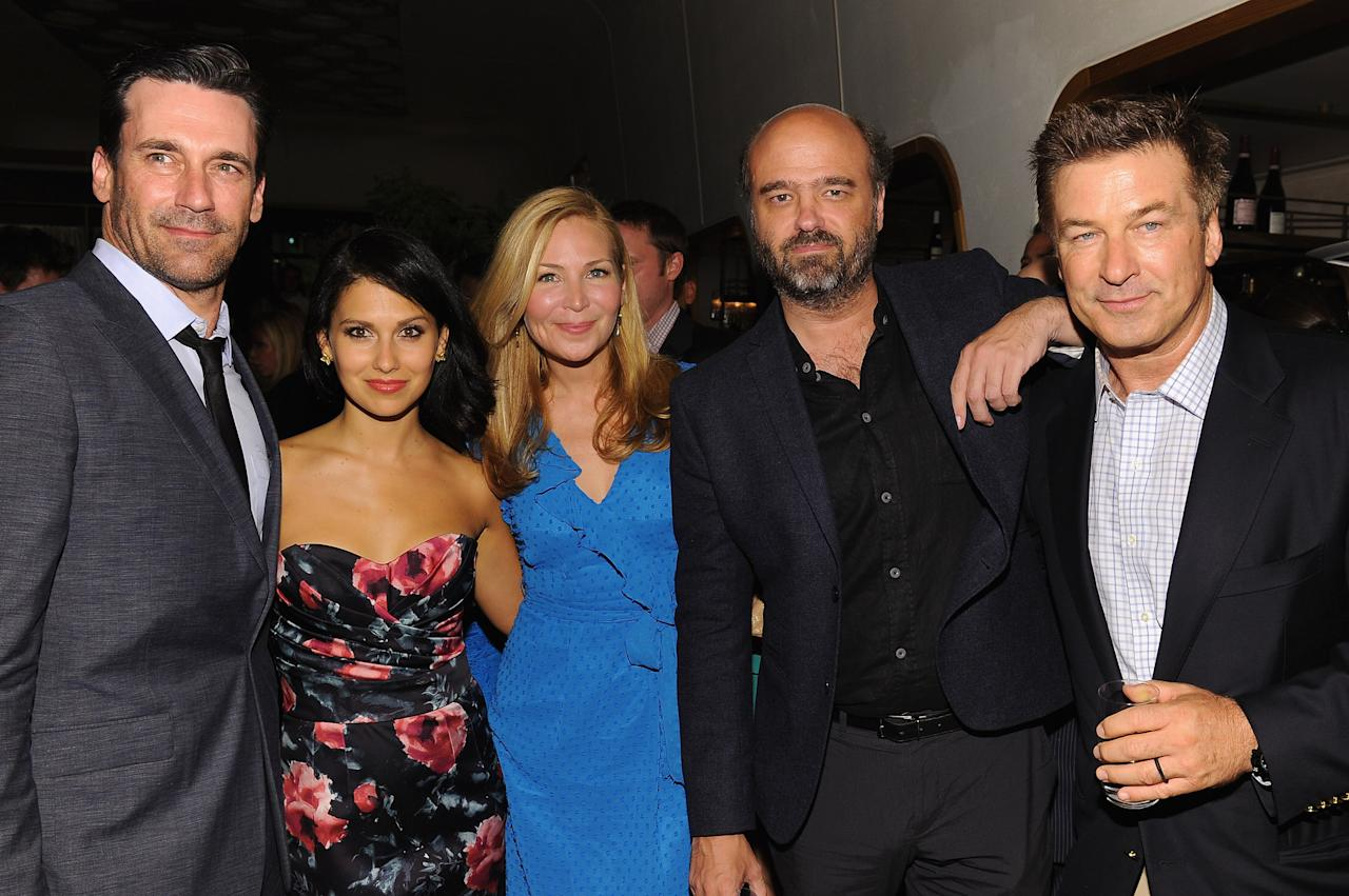 """NEW YORK, NY - JUNE 20:  (L-R) Jon Hamm, Hilaria Thomas, Jennifer Westfeldt, Scott Adsit and Alec Baldwin attend the after party for the Cinema Society with The Hollywood Reporter & Piaget and Disaronno special screening of """"To Rome With Love"""" at Casa Lever on June 20, 2012 in New York City.  (Photo by Larry Busacca/Getty Images)"""