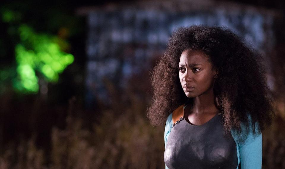"""<span class=""""caption"""">Afrofuturist's work is rooted in the desire to transform the present for Black people. Here actor Mouna Traoré in 'Brown Girl Begins' (2017) directed by Sharon Lewis set in a post-apocalyptic version of Toronto.</span> <span class=""""attribution""""><span class=""""source"""">Urbansoul Inc</span></span>"""