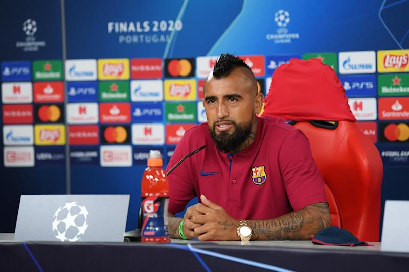 LISBON, PORTUGAL - AUGUST 13: In this handout image provided by UEFA, Arturo Vidal of Barcelona speaks to the media during a press conference ahead of their UEFA Champions League quarter-final match against Bayern Munich at Estadio do Sport Lisboa e Benfica on August 13, 2020 in Lisbon, Portugal. (Photo by UEFA - Handout/UEFA via Getty Images)