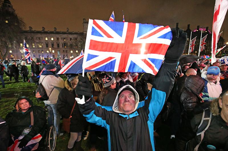 Pro-Brexit supporters in Parliament Square, London, ahead of the UK leaving the European Union at 11pm on Friday.