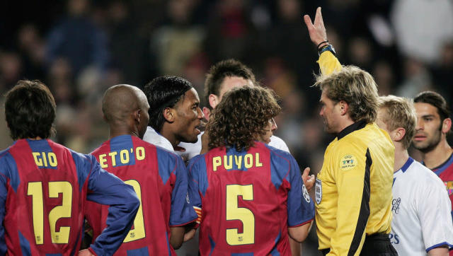 <p>Having emerged on the Champions League scene as Porto's triumphant manager in 2004, Jose Mourinho was the talk of Europe for a much more unsavoury reason 12 months later after his shocking treatment of highly respected referee Anders Frisk.</p> <br><p>The Swedish official had sent off Didier Drogba during a Last 16 first leg clash between Chelsea and Barcelona, with Mourinho going on to lambast Frisk and falsely accuse him of illegally inviting Barça coach Frank Rijkaard into the referee's room.</p> <br><p>Frisk then sensationally announced his immediate retirement just a few weeks later, citing threats made against him and his family by angry Chelsea fans. Mourinho, meanwhile, was handed a touchline ban for both legs of the next round.</p>