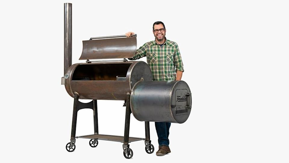 Franklin and his new cooker. - Credit: Photo: courtesy Franklin Barbecue Pits