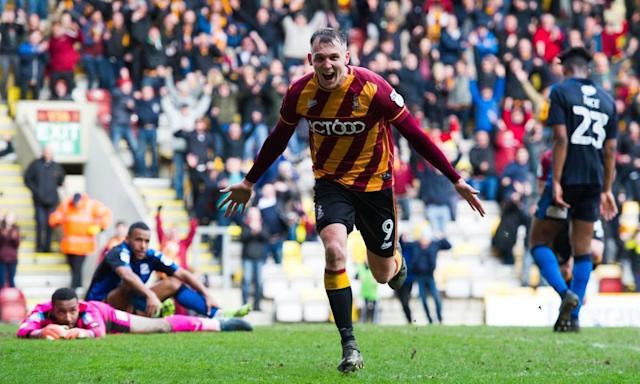 "<span class=""element-image__caption"">Charlie Wyke celebrates his late winner for Bradford City against Swindon.</span> <span class=""element-image__credit"">Photograph: ProSports/REX/Shutterstock</span>"