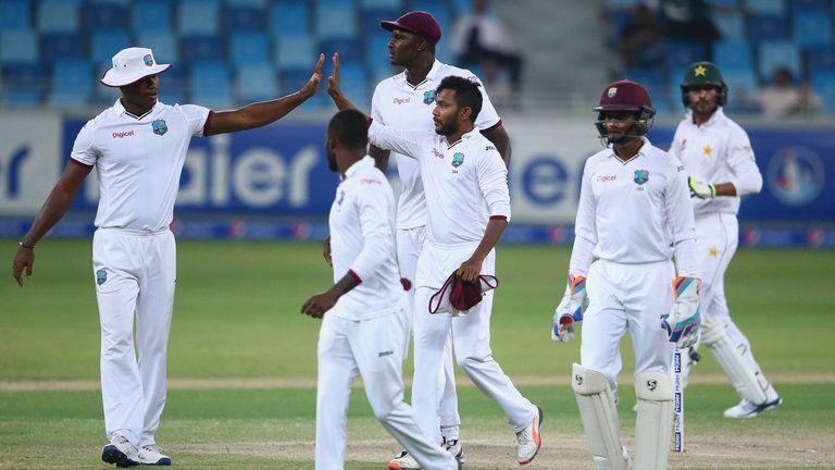 Devendra Bishoo (centre) ripped apart the Pakistan batting lineup. During the same Test match, another player shone brightly, this time for the West Indies. Jason Holder's men were in all sorts of trouble after getting dismissed for a low score and were looking down the barrel for yet another drubbing in Test cricket.Nevertheless, leg-spinner Devendra Bishoo's repertoire with the ball brought West Indies into contention for a stupendous victory. His exemplary spell of 13.5-1-49-8, broke the backbone of the Pakistan batting-line up. From 3/77, the sub-continent team slumped to 123 balls in a space of 87 balls.The leggie was unplayable as he dished out wickets at a hemorrhaging rate to stop the Pakistan batsman. Nonetheless, despite the awe-inspiring spell, West Indies lost the game by 56 runs.