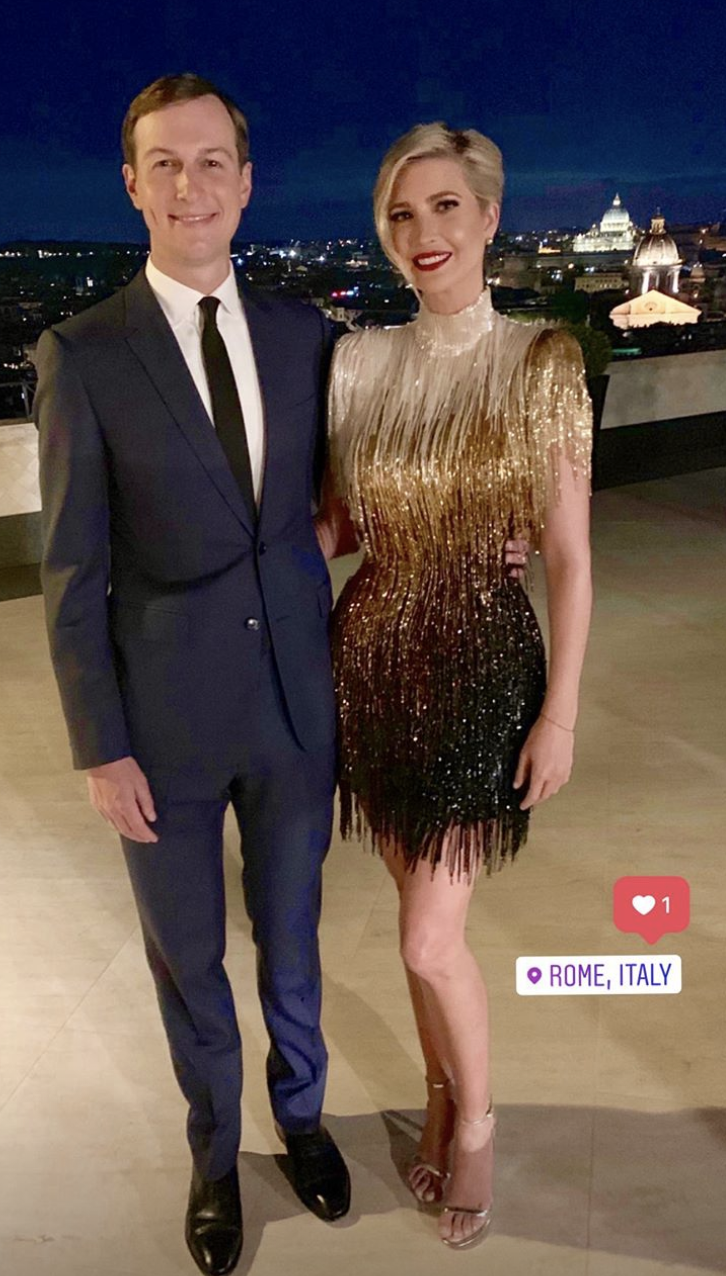 The first daughter wore her mom's vintage Bob Mackie cocktail dress for her Roman holiday with Jared Kushner. (Photo: Instagram Stories via Ivanka Trump)