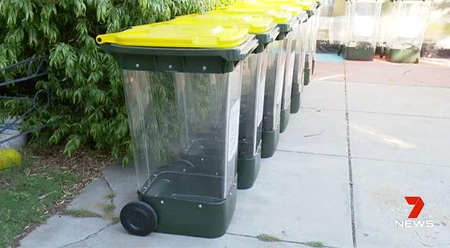 Clear bins are set to be rolled out in selected homes in several Perth suburbs. Source: 7 News