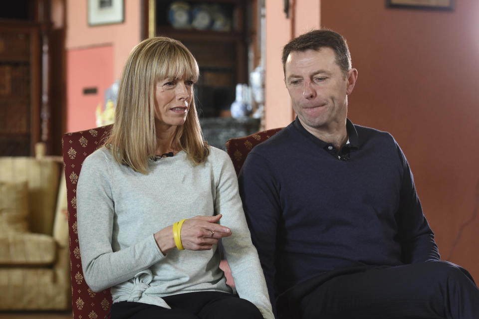 """Kate and Gerry McCann, whose daughter Madeleine disappeared from a holiday flat in Portugal ten-years ago, talk during a BBC TV interview in Loughborough, England, Friday April 28, 2017.  The parents of Madeleine McCann have vowed to do """"whatever it takes for as long as it takes"""" to find her as they prepare to mark the tenth anniversary of her disappearance on the evening of 3 May 2007, from her bed in a holiday apartment in Praia da Luz resort in the Algarve, Portugal. (Joe Giddens/Pool via AP)"""