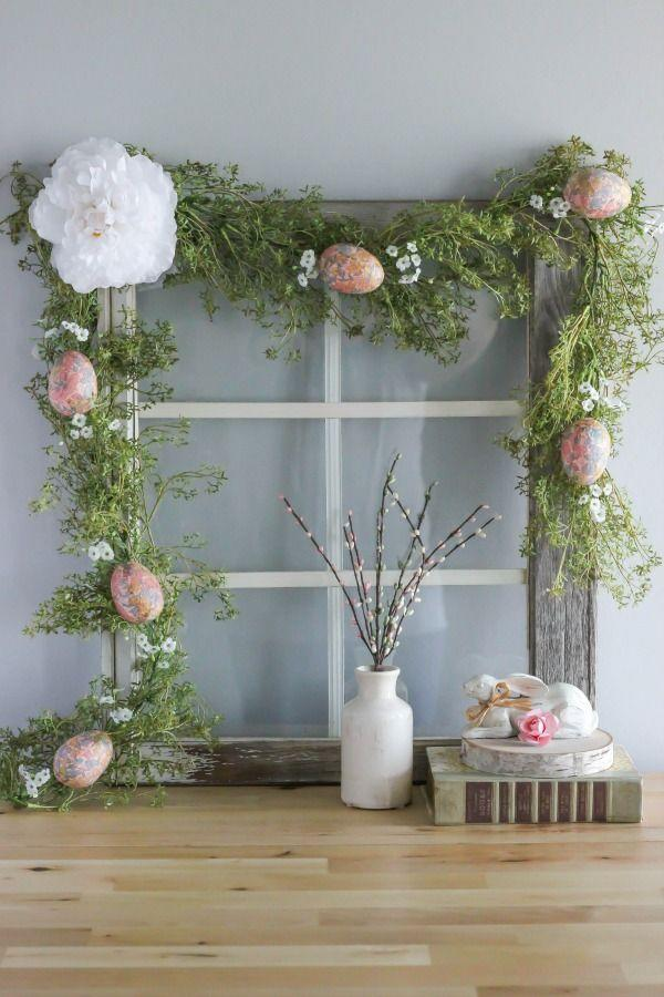 """<p>Proof that garland works for all holidays. Give any ol' store-bought garland a touch of cheer by incorporating ditsy flowers, decoupaged eggs, and pastel accents. </p><p><em><a href=""""https://www.purelykatie.com/diy-decoupage-easter-egg-garland/"""" rel=""""nofollow noopener"""" target=""""_blank"""" data-ylk=""""slk:Get the tutorial at Purely Katie »"""" class=""""link rapid-noclick-resp"""">Get the tutorial at Purely Katie »</a></em></p>"""