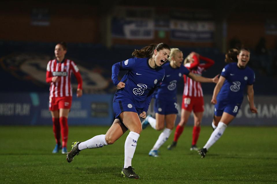 <p>Maren Mjelde celebrates her penalty</p> (Getty Images)
