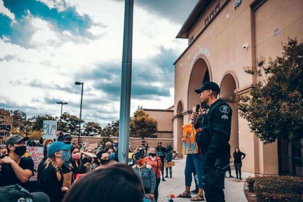 PHOTO: Ryan Tillman speaks with protesters who gathered outside the Chino Police Department, in Chino, California amid widespread outrage over the police the killing of George Floyd. (Billy Stuckman)