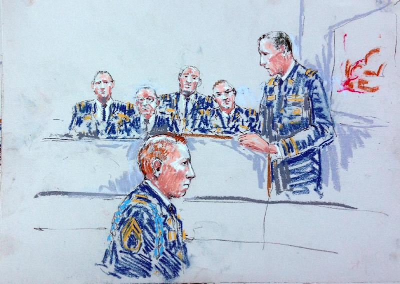 CORRECTS SPELLING OF ARTIST'S LAST NAME TO MILLETT INSTEAD OF MILLET - In this courtroom sketch Staff Sgt. Robert Bales, foreground, is seated as prosecutor Lt Col. Jay Morse, right, speaks to the jury in a courtroom at Joint Base Lewis-McChord, Wash. during a sentencing hearing in the slayings of 16 civilians killed during pre-dawn raids on two villages on March 11, 2012. Haji Mohammad Naim, an Afghan farmer shot during a massacre in Kandahar Province last year, took the witness stand Tuesday against Bales, who attacked his village, cursing him before breaking down and pleading with the prosecutor not to ask him any more questions. (AP Photo/Peter Millett)