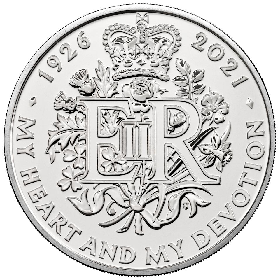 EMBARGOED TO 0001 MONDAY JANUARY 04 Undated handout photo issued by the Royal Mint of a new GBP 5 coin commemorating the 95th birthday of Queen Elizabeth II which is part of a range of new designs that will be appearing on British coins throughout 2021.
