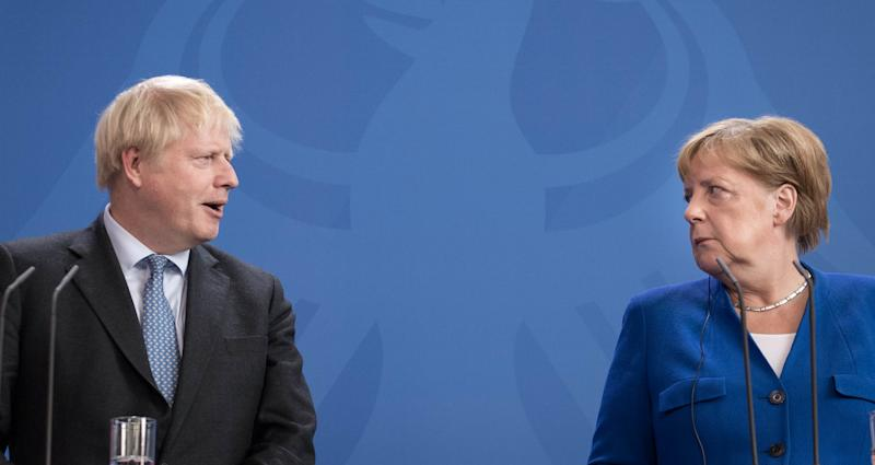 File photo dated 21/8/2019 of Prime Minister Boris Johnson and German Chancellor Angela Merkel in Berlin, ahead of talks to try to break the Brexit deadlock. Downing Street has said it is clear that EU has adopted a new position on Brexit following a call between the two leaders earlier Tuesday.