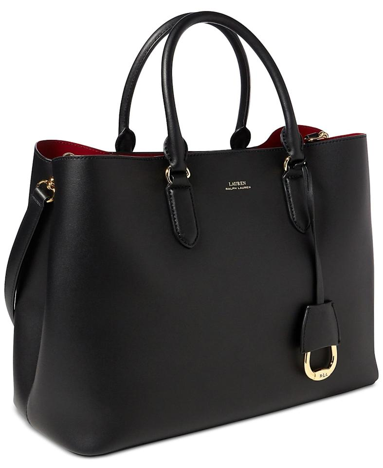 """<p>This <a href=""""https://www.popsugar.com/buy/Lauren-Ralph-Lauren-Dryden-Marcy-Leather-Tote-491362?p_name=Lauren%20Ralph%20Lauren%20Dryden%20Marcy%20Leather%20Tote&retailer=macys.com&pid=491362&price=268&evar1=fab%3Aus&evar9=45623846&evar98=https%3A%2F%2Fwww.popsugar.com%2Ffashion%2Fphoto-gallery%2F45623846%2Fimage%2F46626354%2FLauren-Ralph-Lauren-Dryden-Marcy-Leather-Tote&list1=shopping%2Caccessories%2Cbags%2Cworkwear&prop13=mobile&pdata=1"""" rel=""""nofollow"""" data-shoppable-link=""""1"""" target=""""_blank"""" class=""""ga-track"""" data-ga-category=""""Related"""" data-ga-label=""""https://www.macys.com/shop/product/lauren-ralph-lauren-dryden-marcy-leather-tote?ID=4342842&amp;CategoryID=26846#fn=sp%3D1%26spc%3D784%26ruleId%3D78%26kws%3Dtote%20bag%26searchPass%3DexactMultiMatch%26slotId%3D1"""" data-ga-action=""""In-Line Links"""">Lauren Ralph Lauren Dryden Marcy Leather Tote</a> ($268) features a second strap you can carry on your shoulder.</p>"""