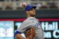 Toronto Blue Jays pitcher Steven Matz throws against the Minnesota Twins in the first inning of a baseball game, Thursday, Sept. 23, 2021, in Minneapolis. (AP Photo/Jim Mone)