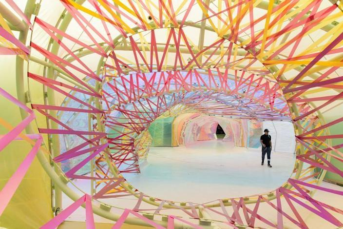 "Selgascano's pavilion for the Serpentine Galleries was made out of ribbons of synthetic materials. The firm uses simple, industrial materials to fantastic effect. <span class=""copyright"">(Iwan Baan)</span>"