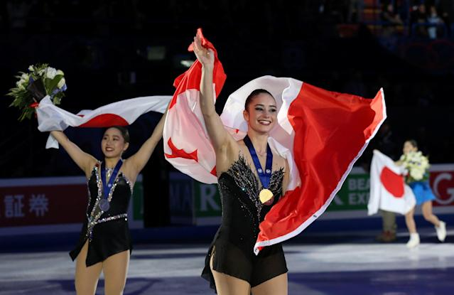 Figure Skating - World Figure Skating Championships - The Mediolanum Forum, Milan, Italy - March 23, 2018 Canada's Kaetlyn Osmond celebrates winning gold after the Ladies Free Skating REUTERS/Alessandro Bianchi