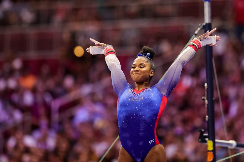 """<p>Chiles, 20, moved to World Champions Centre (WCC), the gym owned by Biles's parents, in June of 2019. She won the all-around at the 2021 Winter Cup in February and came in second overall at the <a href=""""https://www.popsugar.com/fitness/simone-biles-2021-floor-routine-us-classic-video-48332560"""" class=""""link rapid-noclick-resp"""" rel=""""nofollow noopener"""" target=""""_blank"""" data-ylk=""""slk:GK US Classic"""">GK US Classic</a> behind Biles. She also claimed the national all-around bronze medal and the national vault bronze medal. Before her move to WCC, she was the 2018 Pacific Rim Championships team, vault, and floor champion.</p> <p>Chiles, who is committed to UCLA, told POPSUGAR earlier this year, """"Training under Laurent [Landi] and Cecile [Canqueteau-Landi] definitely has changed my whole mindset, my whole attitude, and how I look forward to being in the gym these day. Being able to have coaches who truly understand me and what I've gone through and what I want in my career is something that I was really, really happy about.""""</p>"""