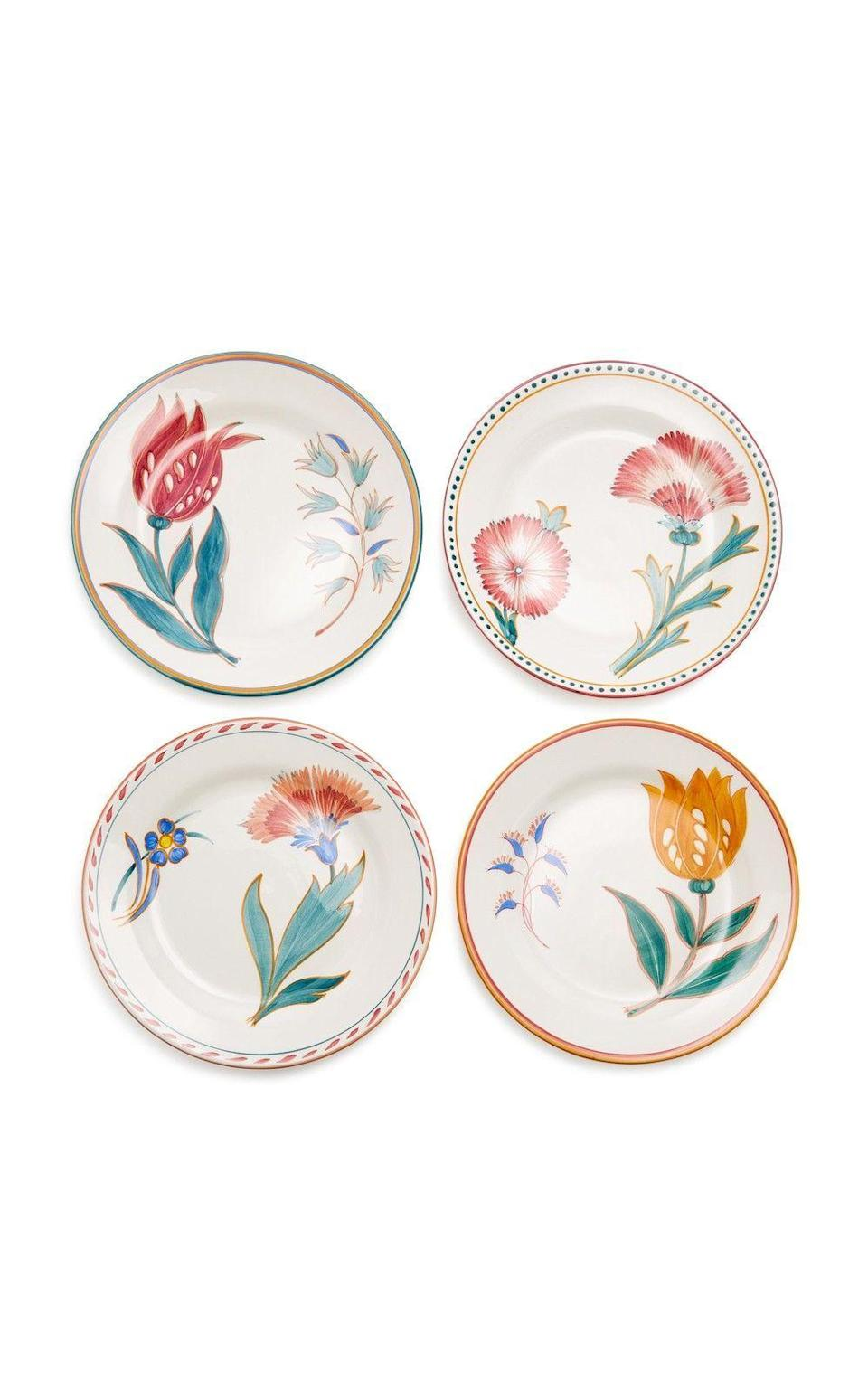 """<p><strong>Augarten Wien</strong></p><p>modaoperandi.com</p><p><strong>$370.00</strong></p><p><a href=""""https://go.redirectingat.com?id=74968X1596630&url=https%3A%2F%2Fwww.modaoperandi.com%2Faugarten-wien-gg18%2Fset-of-four-porcelain-dessert-plates&sref=https%3A%2F%2Fwww.harpersbazaar.com%2Fwedding%2Fplanning%2Fg33647953%2Ffourth-anniversary-gift-ideas%2F"""" rel=""""nofollow noopener"""" target=""""_blank"""" data-ylk=""""slk:SHOP NOW"""" class=""""link rapid-noclick-resp"""">SHOP NOW</a></p><p>Upgrade your dessert or salad plates with unique floral patterns (like these pictured here) that feel fresh—and mix in well with the settings <a href=""""https://www.harpersbazaar.com/wedding/planning/g33600442/where-to-register-for-wedding/"""" rel=""""nofollow noopener"""" target=""""_blank"""" data-ylk=""""slk:you registered for"""" class=""""link rapid-noclick-resp"""">you registered for</a>. </p>"""